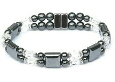 Women's Magnetic Bracelet / Anklet with CLEAR SWAROVSKI CRYSTAL 2 ROW
