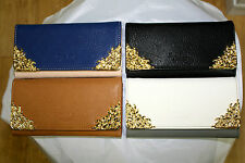 New WOMEN FAUX LEATHER CONTRAST COLOUR GOLD DESIGN PATTERN EDGING STYLISH PURSE