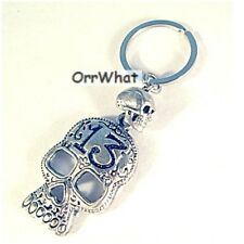 Skull Lucky 13 Necklace Key Ring Car Charms Earring Made In USA Pewter Bead