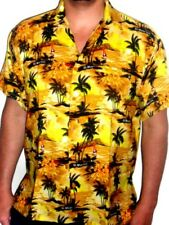 MENS SEXY RICH GOLD PALM TREE CARIBBEAN IBIZA HAWAIIAN SUNSET SHIRT SZ S - 3XL