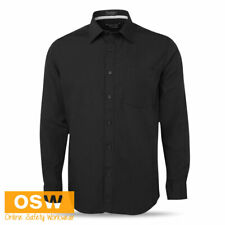 MENS BLACK CONTRAST PLACKET LONG SLEEVE BAR/HOTEL/RESTAURANT BUSINESS SHIRT