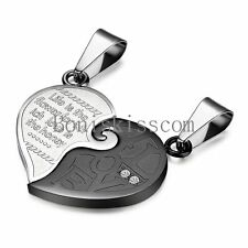 "His and Hers Stainless Steel "" LOVE "" Matching Couple Heart Pendant Necklaces"