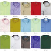 Men's Banded(Collarless) Cotton Blend Dress Shirt 01 Classic Fit Hidden Button