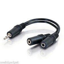 8 inches 3.5 mm Male to 2x 3.5 mm Female Aux Y splitter Cable lots wholesale