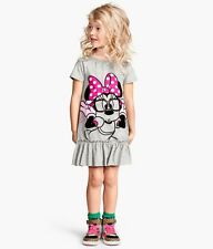 New Kids Girls daily gray Cotton Dress Minnie Disney Casual Loose Baggy 1-5T
