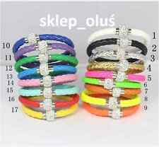 Leather Wrap Magnetic Rhinestone Buckle Bracelet Bangle Pick Shamballa HoT !!!