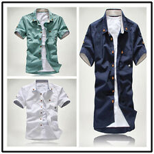 New Korean Men's Fashion Short Sleeve Fitted Tops Handsome Casual T-shirt OY