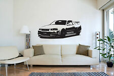 XL Large Car Nissan GTR 34 Bedroom Free Squeegee! Wall Art Decal / Sticker