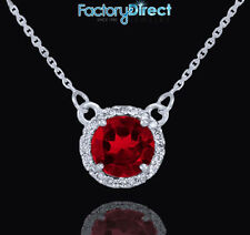 14k White Gold Diamond Red Ruby Necklace