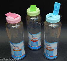 Portable Translucent Clear Plastic Water Bottle Flip-Top Lid Wide Mouth BPA FREE