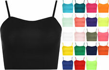 New Womens Strappy Sleeveless Ladies Camisole Bralet Crop Stretch Vest Top 8-14