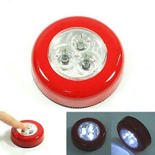 Home 3 LED Light Battery Powered Tap Push Stick Touch Night Emergency Car Lamp