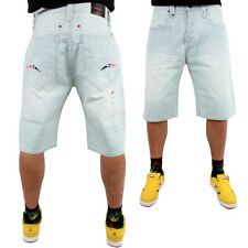 Phat Farm Official Logo Baggy Snow Wash Denim Jeans Shorts Hip Is Hop Money Time