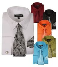 Men's Classic Cotton Blend Dress Shirt Set #619 Jacquard French Cuff George's