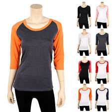 Womens Raglan Baseball T Shirt 3/4 Sleeve Jersey Tee Color New Team Ladies S M L