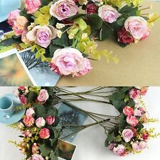 Fashion 1 Bouquet 21Heads Artificial Peony Silk Fake Flowers Home Wedding Decor