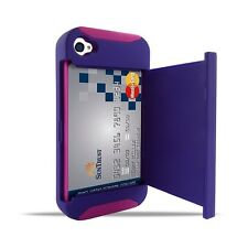 Hybrid Heavy Duty Dual Layer With Credit Card Holder Case For iPhone 4 4s
