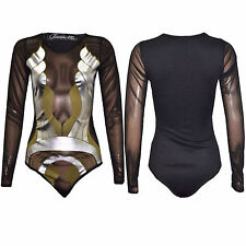 Ladies Women Long Sleeve Celeb Paris Hilton Foil Print Swim Bodysuit Sexy Top