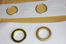Eyelet Curtain Header Tape - per metre including Shiny or matt gold rings