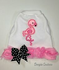 Brand New Pink Flamingo Summer Dog Tank Shirt Size XXXS-Medium by Doogie Couture