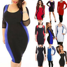 Women Sexy Perspective Evening Dress Long Sleeve Bodycon Cocktail Party Clubwear