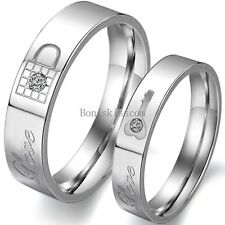 "Lock and Key Promise Ring "" Love "" Engraved Couples Engagement Wedding Band"