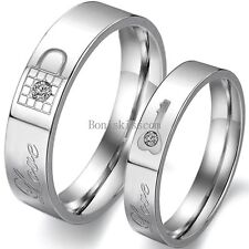 """Lock and Key Promise Ring """" Love """" Engraved Couples Engagement Wedding Band"""