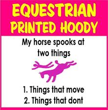 Equestrian Printed Hoody, My Horse Spooks at things that move + don't move