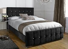 Java Upholstered Chenille Bed Frame All Colours & Sizes Diamante Made in UK