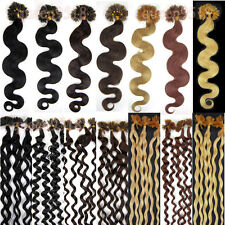"New 20""100S Pre Bonded U/NAIL Kertain Tip Curly Remy Human Hair Extensions 0.5g"