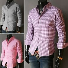 New Men Stylish Slim Grid line Plaid Check Formal Casual Dress Shirts Tops S~XL