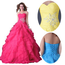 Stunning Strapless Glam Puffy Layered Prom Ball Gown Wedding Evening Long Dress