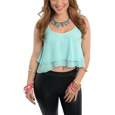 Flowing Aqua Double Layered Sheer Chiffon Cropped Fashion Tank Top Blouse Shirt