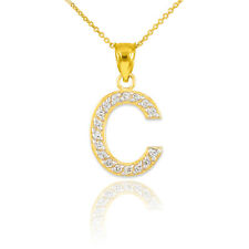 "10k 14K Yellow Gold Letter ""C"" Diamond Initial Pendant Necklaces Perfect Gifts"
