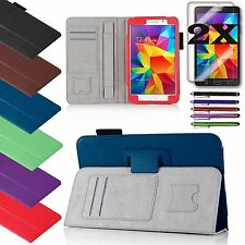 PU Leather Cover Case Stand for Samsung Galaxy Tab 4 8.0 Tablet Accessory Bundle