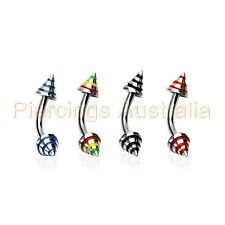 16G Stripe Spike Eyebrow Bar Ring Barbell Body Piercing Jewellery CHOOSE LENGTH