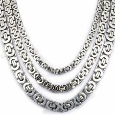 "New 6/8/11MM 18""~36"" Men's Flat Byzantine Silver Stainless Steel Necklace Chain"