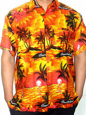 MENS ORANGE YELLOW SUNSET PALM TREE HAWAIIAN CARIBBEAN SHIRT S M  L XL XXL 3XL