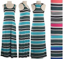 Sleeveless Racerback Long Maxi Dress Full Length Scoop Neck Multi Colors Striped
