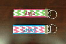 Personalized CHEVRON Ribbon Key Ring Wristlet Key Chain Any NAME or MONOGRAM