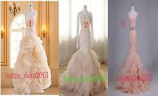 Champagne New 3 Styles Tiered Mermaid Wedding Dress Custom Size 2-18 Bridal Gown