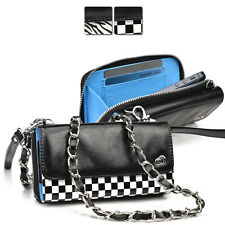 Kroo Bicast Leather Crossbody Purse Wristlet Clutch fits Sony Mobile Cell