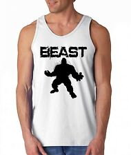 BEAST Muscle Guy workout TANK TOP funny collage gag gym fitness training shirt