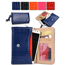 K Slim Universal Bicast Croc Leather Wristlet Pouch Clutch Case fits Mobile Cell