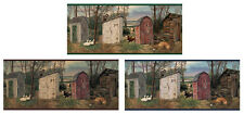 Country Outhouses Pre-Pasted Wallpaper Wall Border ~ Color Choice