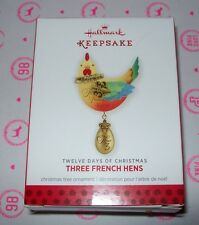 HALLMARK CHRISTMAS 2013 ORNAMENTS 12 DAYS OF CHRISTMAS / THREE FRENCH NEW IN BOX