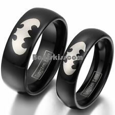 Black Tungsten Carbide Ring Silver Batman Symbol Couples Engagement Wedding Band
