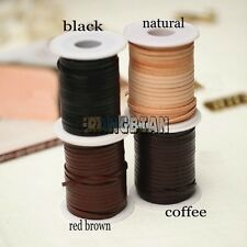 10yards Genuine Cow Lace 3x1mm Flat Leather Lacing Leathercraft free shipping