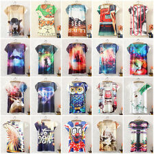 Women chemises Short Sleeve Graphic Printed T-Shirt Casual Tee Blouse Tops Hauts