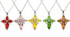 1Pc Crystal Rhinestone Cross Pendant Silver Plated Silver Chain Necklace 13Color